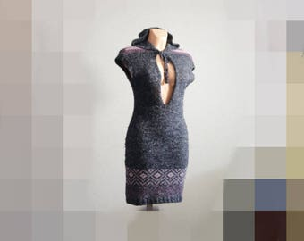 woman Tunic sweater dress long sweater with hood  Small Size