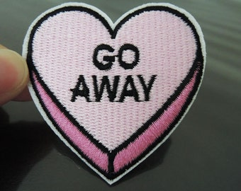 Iron on Patch - Go Away Heart Patch Pink Heart Love Patches Letter Go Away Iron on Applique Embroidered Patch Sewing Patch