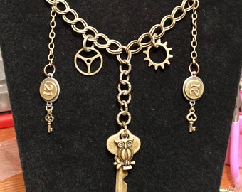 Steampunk style gears and keys necklace