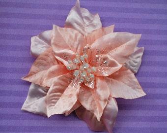 Weihnachten besondere Perle Pfirsich Weihnachtsstern Blume mit Glitzer Pin up Vintage Rockabilly Stil Top-Qualität Hochzeit Braut 50er Jahre