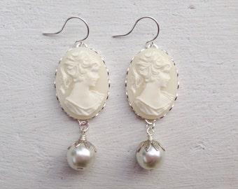 Cameo Earrings/Cream Earrings Victorian Earrings/Cameo and Pearl Earrings/Downton Abbey Earrings/Cream Cameo Earrings/Cream Pearl Earrings