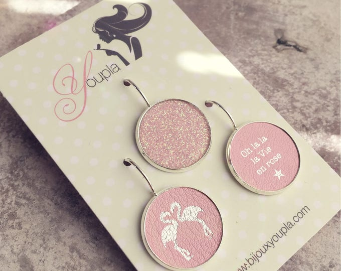 Trio of Flamingo Pink leather (18mm in diameter) earrings - trio 40AG