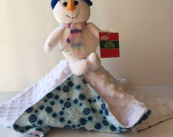 Ultra Plush and Snuggly Snowman Lovey Blanket