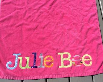 Personalized Beach Towel- Girls or Boys Custom Appliqued- Pool Towel- Baby Beach- Monogramed- Childrens-Beach Vacation Towel