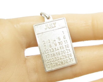 925 sterling silver - minimal month of july calendar page pendant - p1050