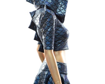 Black Holographic Dragon Spiked Hoodie and Micro Mini Circle Skirt Set with Zen Lined Hood   -E8031