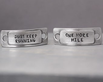 Running Shoe Tags, Pewter Shoe Charms, Runner Gift, Marathon Gift, Lace Tags, Hand Stamped Shoe, Shoe Tags, Hand Stamped Lace, Inspiration