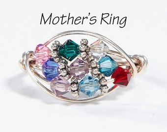 9 birthstone Grandmother's/Mother's Ring: Personalized Sterling Silver multistone Family. Nine stone Swarovski Crystals. Christmas, birthday