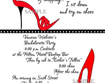 Red Shoes, Bridal Shower Invitation, Girls Night Out, Bachelorette, Birthday, Party, Sorority, Surprise, Heels