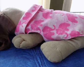 Dog Clothes//Dog Pajamas//Flannel Dog Clothing//Dog PJs//Pink Elephant Flannel Jammies for Dogs size MEDIUM. Cute and Cozy!//FREE SHIPPING