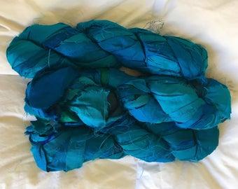 SALE plumfish recycled silk ribbon mixed turquoise blue, saphire blue, embroidery knitting crochet craft embellishment yarn 100 grams