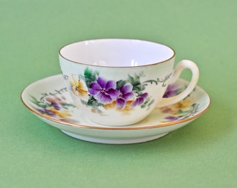 Vintage Cup and Saucer C.T.  Altwasser Germany Hand Painted Purple and Yellow Pansy