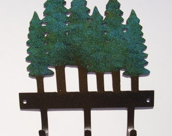 Pine trees, lodge,cabin, northwoods,Mountains,Metal Art, Key Holder, Wall Accent, Outdoorsy, Gift