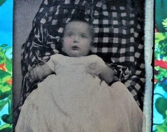 Tintype - Baby on Hidden Mother's Lap