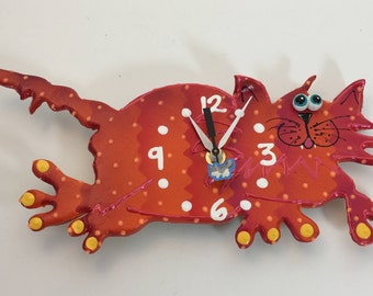 Kids Clock,Cat Clock, Modern Clock for Children,Baby Nursery Decor,Animal Clock, Fun Clock for Kids, ,KITTY-CAT CLOCK, unique wall clock
