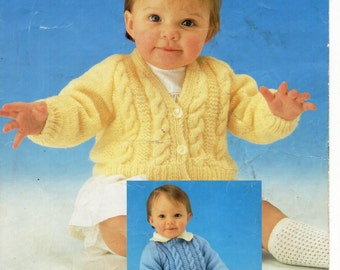 Baby Cable Sweater & Cardigan knitting pattern pdf download Baby Cardigan Cable Jumper Cable Sweater 16-20 inch DK PDF Digital download