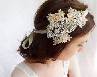 lace wedding headband, lace hair piece, pink and sage, bridal headpiece, lace wedding headband -FLEURELLE- vintage hair accessories, blush