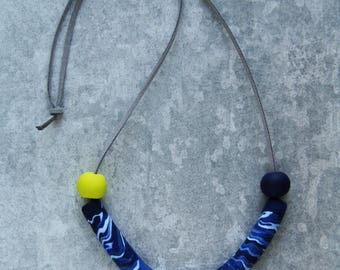 Contemporary Blue and Yellow Handmade Statement Arc Necklace