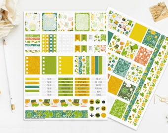 St. Patrick's Day Stickers Printable Planner Irish Seasonal March Celebration Green Yellow Orange Digital Instant Download Print Cut