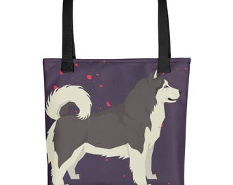 Malamute Dog Tote bag, Cute Gift for Dog Lovers and Malamute Dog Owners Printed Both Sides