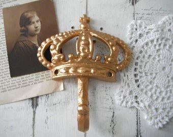 murale crochet cottage chic crochet métallique d'or plage maison décor français pays manteau crochet chapeau crochet or paris appartement Couronne crochet
