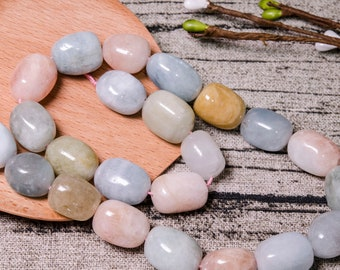 Aquamarine Beads Carved,Morganite Beads Crystal Healing,Metaphysical,Pagan,Pendant,Necklace,Gift for Her,Drilled,390mm,104g -1 Pcs
