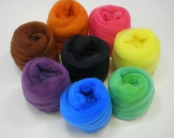 Filzen von Wolle Sortiment Grundfarben Vorgarn CRAYON BOX 2 oz.