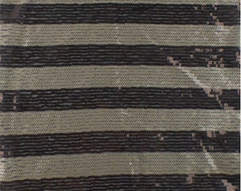 Brown/Champagne Gold Sequin Stripe Mesh, Fabric By The Yard