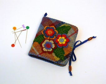 Plaid Wool Fabric Needle Book with Felt Flowers  Blue Red Yellow Tartan Pins Case Organizer  3 Dimensional Floral Applique  Colleague Gift