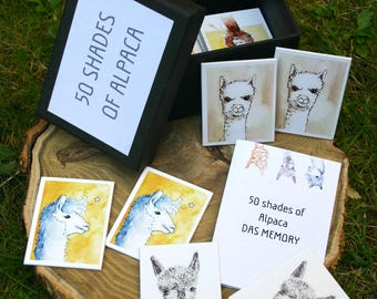 50 Shades of Alpaca-alpaca memory game, 32teilig with illustrations, Memo game