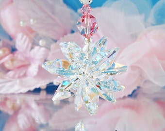 Swarovski Crystal Suncatcher Car Charm Pink Rear View Mirror Car Accessories Gifts for Her Mothers Day Gift