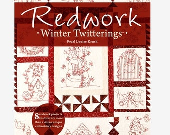 Redwork: Winter Twitterings - Hand Embroidery Pattern by ANNIE'S QUILTING Birds - Birdhouse - Snowman