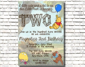 Winnie the Pooh Invite - Age Two