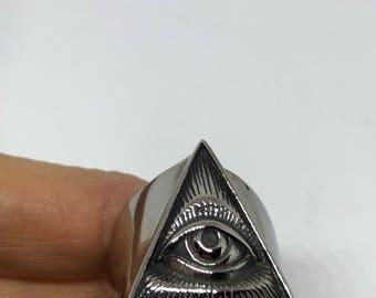 Vintage 1980's Gothic Stainless Steel Illuminati Eye Pyramid Men's Ring