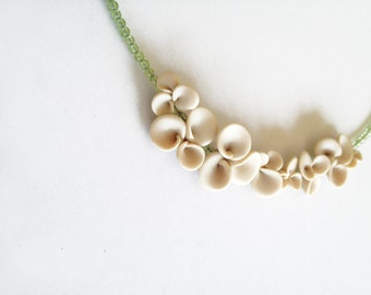 minimal organic abstracted botanical necklace nO.220 'Hydrangea between lime peridot'