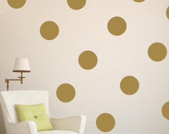 "6"" Gold Polka Dot Vinyl Wall Decals / Polka Dot Wall Decals/ Kids Room Wall Decal / Nursery Wall Decal / Circle Wall Decal / Dot Wall Decal"