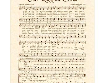 OLD RUGGED CROSS - Custom Christian Home Decor - Vintage Verses Sheet Music - Antique Hymn Wall Art - Inspirational Wall Art - Sepia Brown