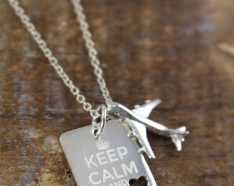 Aviation Jewelry Gifts , Flight Attendant Jewelry , Airplane Necklace , Keep Calm Quotes Engraved Jewelry 925 Sterling Silver