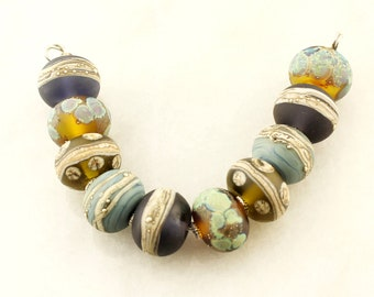Lampwork Beads Set Organic, Etched Matte Glass, Rustic, Green, Blue, Topaz,  Brown, Silver