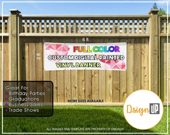 Custom Printed  Vinyl Banner 2x6 Single Sided with Grommets  - Personalized Banner