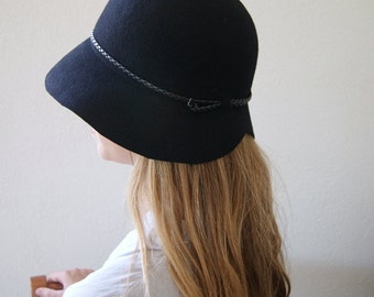 HAT ON SALE , Black Cloche Hat , Felt Cloche Women Hat Vintage Style, Handmade Cloche Hat -  Womens hats