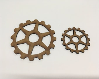 Steampunk Cogs Wooden MDF - 50mm 75mm - Decoration Card Making Craft - (4) - A9