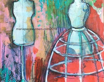 Little Dress Shop - Original mixed media/ encaustic  painting by Maria Pace-Wynters