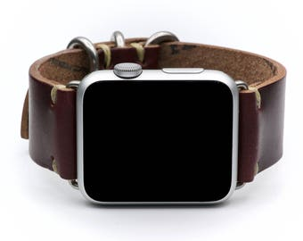 Apple Watch Strap: Horween Leather Watch Band by E3 Supply Co. - Color #8 Chromexcel