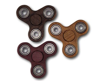 Fidget Spinner Triple Spinner EDC Spinner Solid Hardwood Bones Reds Bearing Walnut Cherry Purpleheart