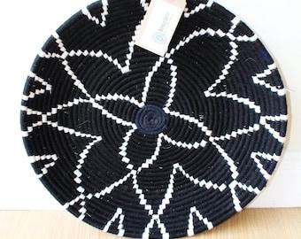 Moroccan Woven Plate  - Black / White