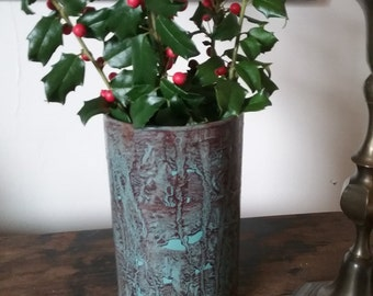 Glass vase vinegar painted in sienna on teal