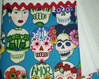 Frida Calaveras Sugar skull Kitchen Print Towel Cotton Print with RED Rick Rack Trim