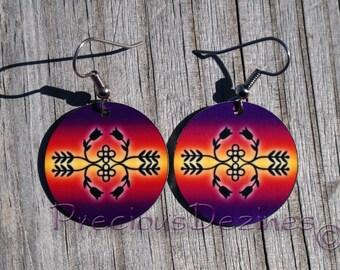 Ojibwe floral design earrings. High quality image printed on metal earrings. Ojibwe floral pattern earrings