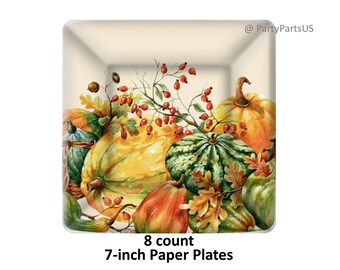 pumpkin dessert plates, pumpkins, fall tableware, gourds, paper, disposable, Autumn wedding, bridal shower, ecofriendly party decor, orange